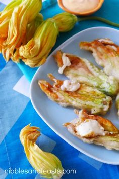 Cheese stuffed squash blossoms with chipotle cream sauce @Christy ...