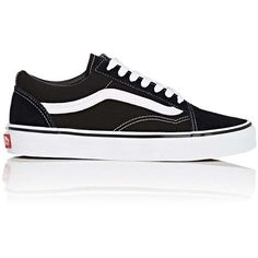 Vans Women's Old Skool Canvas & Suede Sneakers (225 RON) ❤ liked on Polyvore featuring shoes, sneakers, black, black lace up sneakers, black low top sneakers, lace up sneakers, black sneakers and black trainers