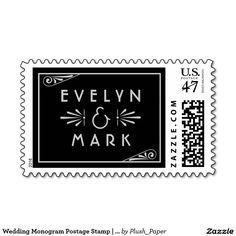 Wedding Monogram Postage Stamp | Art Deco Style
