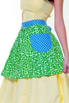 Green flowers and blue polka dots