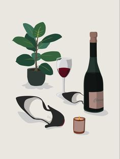 Wine Wall Art, Wine Art, Plant Illustration, Graphic Design Illustration, Photomontage, Wine Poster, Bar Art, Expo, Minimalist Art