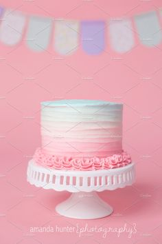Pink Blue Ombre Birthday Cake by Amanda Hunter Photo on Creative Market - Birthday Cake Blue Ideen Pink Smash Cakes, Cake Pink, Pink Ombre Cake, Pastel Cakes, Smash Cake Girl, Purple Cakes, Girl Cakes, Blue Ombre, Pink Blue