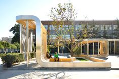 Rollercoaster: Louvered Pavilion Snakes Around a Schoolyard Like an Amusement Park Ride   Inhabitat - Green Design, Innovation, Architecture, Green Building