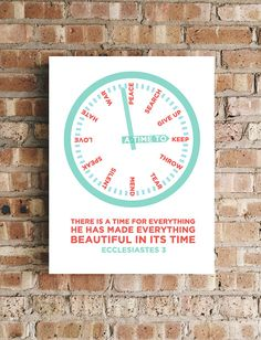 A Time For Everything - Ecclesiastes 3 Bible Verse Wall Art Scripture Prints Bible Verse Wall Art, Bible Verses, Ecclesiastes 3, Perfect Timing, Hand Lettering, Everything, Meant To Be, Peace, Songs