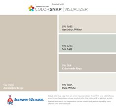 I found these colors with ColorSnap® Visualizer for iPhone by Sherwin-Williams: Accessible Beige (SW 7036), Aesthetic White (SW 7035), Sea Salt (SW 6204), Colonnade Gray (SW 7641), Pure White (SW 7005).