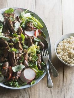 Shaking Beef Salad with Brown Rice by Nadia Lim | NadiaLim.com