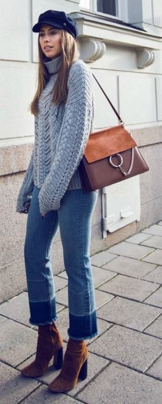 Kenza Zouiten + simply stylish + chunky knitted sweater + cropped jeans + heeled suede boots + hat of your choice to get that fresh feel which Kenza has achieved!   Jeans/Sweater: Ivy Revel, Boots: Zara.