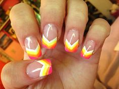 Neon rainbow painted nail tips. Acrylic nail design art. Great for the summer!