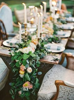 Garland and candlesticks for head table