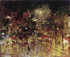 Konstantin Korovin (Russian 1861–1939) [Impressionism, Art Nouveau] Paris by Night, 1920.