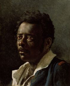 """""""Study of a Model,"""" Théodore Géricault, about 1818 - 1819. Oil on canvas. J. Paul Getty Museum.   This portrait was made as a study for Théodore Géricault's most famous painting, The Raft of the Medusa, made in 1819 and now in the Louvre. Géricault captured the man's character with great sympathy and spontaneity; his watery eyes do not focus on anything outside the canvas but appear to express an internal torment."""