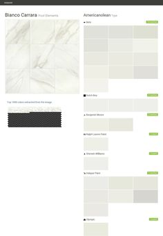 Bianco Carrara. Pool Elements. Type. Americanolean. Behr. Dutch Boy. Benjamin Moore. Ralph Lauren Paint. Sherwin Williams. Valspar Paint. Olympic.  Click the gray Visit button to see the matching paint names.