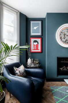 Tour a Tiny House in London's Brixton Full Of Clever Space-Saving Ideas Guest Bedroom Office, Space Saving, Living Room Pendant, Interior, House, Corner House, Home Decor, House Interior, Maximalist Interior