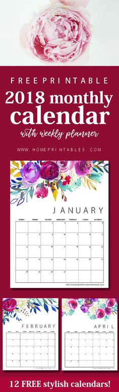 This dazzling free printable calendar 2018 in florals is a must-print! It also comes with a free weekly plannerlove Download now! #freeplanner #planner #calendar #planner #2018 #printables #freeprintable #printable #january2018 #newyear