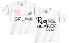 Flower Girl and Ring Bearer Shirts with Dates and Ring Motif Tees by TheCuteTee on Etsy