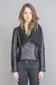 Lancy Leather Jacket Lambskin Leather, Leather Jacket, Pony Hair, S Models, Moto Jacket, Hand Weaving, Knitting, Link, Long Sleeve