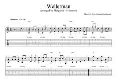 "Six-string guitar arrangement by Margarita Gershunova for New Zealand folk song ""Wellerman"""