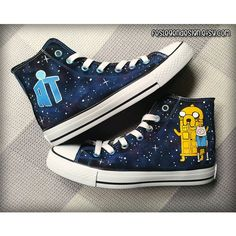 Adventure Time Doctor Who Custom Converse / Painted Shoes ($75) ❤ liked on Polyvore featuring shoes, doctor who, hora de aventura, lucite shoes, acrylic shoes, converse footwear and converse shoes