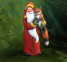 Susan M Smith Santa with Fox | Ride On, Santa | Pinterest