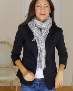 Jewell grey leopard scarf dresses up staples such as blazers (Anthropologie black blazer) The Daily Connoisseur