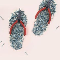"""Amazing DIY artworks from London based visual artist & maker Helga Stentzel """"DIY Flip Flops"""", paper, pliers and nails, ©️ Helga Stentzel Surrealism Photography, Conceptual Photography, Abstract Photography, Conceptual Art, Macro Photography, Creative Photography, Experimental Photography, Water Photography, Wedding Photography"""