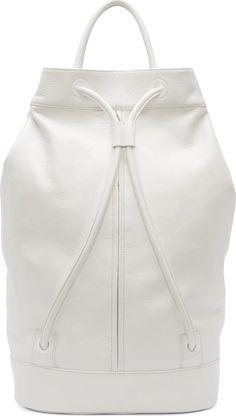 Juun.j: White Leather Drawstring Backpack