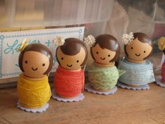 Recently, a friend featured her sister's crafty creations on her site. They are some of the most precious spool dolls I have ever seen! Wooden Spool Crafts, Wood Spool, Doll Crafts, Sewing Crafts, Crafts To Make, Crafts For Kids, Stick Crafts, Biscuit, Clothespin Dolls