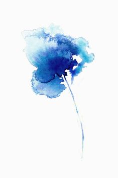 "Fresh, simple, abstract ""Iris 4"" in shades of indigo watercolour by Asara Design."