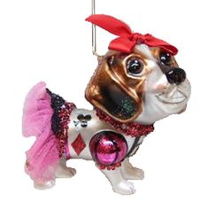 December Diamonds Blown Glass Ornament - Beagle