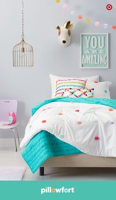 Pops of color will brighten up any kid's room, and it's so easy with Pillowfort's Marvelous Manor collection. Cheerful and unique, the pom-pom comforter looks great with tasseled pillows, and it mixes effortlessly with a solid quilt. Just add accessories Teenage Girl Bedrooms, Little Girl Rooms, Teen Bedroom, Bedroom Decor, Bedroom Ideas, Kid Bedrooms, Bedroom Designs, Rainbow Bedroom, Dream Rooms