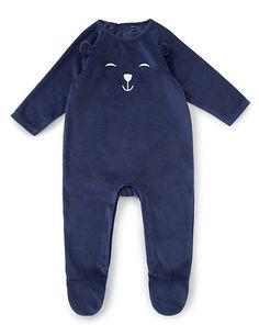 Boys Velour Teddy Sleepsuit Clothing