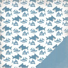 Three Bugs In a Rug - Under the Sea Collection - 12 x 12 Double Sided Paper - Shark at Scrapbook.com $0.89