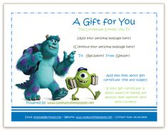 Gift certificate template is used as convertible value for amount becoming popular day by day according to the events among people. Disney Birthday, Birthday Gifts, Birthday Parties, Birthday Cakes, Free Gift Certificate Template, Gift Certificates, Monster University, Free Gifts, Messages
