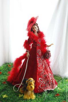 Коллекционные куклы ручной работы. Дама с собачкой. Лариса Исаева (kuklaelli). Ярмарка Мастеров. Красный, красное платье