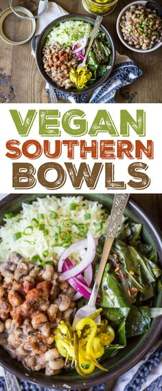 Vegan Southern Bowls are hearty, comforting, and the perfect way to use up leftover black eyed peas!