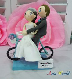 Wedding cake topper Bicycle wedding with strapless by AsiaWorld, $83.50