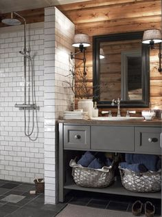 Cabin bathrooms, wooden bathroom и bathroom. Wooden Bathroom, Bathroom Renos, Grey Bathrooms, Basement Bathroom, Bathroom Flooring, Master Bathroom, Bathroom Ideas, Bathroom Small, Bathroom Modern