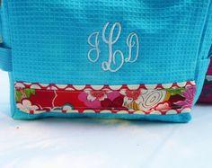 monogrammed makeup bag mediteranian blue and red by Baileywicks, $16.00