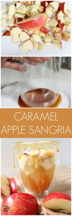 A delicious Caramel Apple Sangria recipe that is perfectly refreshing for summers end, and Falls beginning! Holiday Drinks, Fun Drinks, Yummy Drinks, Yummy Food, Beverages, Brunch Drinks, Fruity Drinks, Caramel Apple Sangria, Caramel Apples