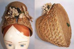 1860 intricate weave bonnet | Victorian Natural Straw Orange Blossom Bridal Bonnet Hat Front view.