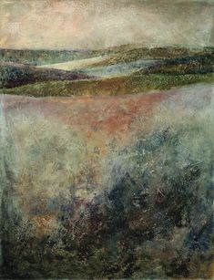 """From our current solo exhibit – """"Elemental"""" by Georgia Nassikas. Beautiful encaustic paintings she creates using beeswax from her own hives."""