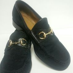 Gucci Horsebit Shoes Black canvas and leather GG shoes pre-owned. Gucci Shoes Flats & Loafers
