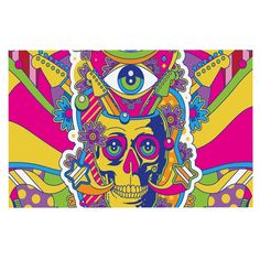 KESS InHouse Roberlan 'Skull' Rainbow Illustration Dog Place Mat, 13' x 18' *** Special dog product just for you. See it now! : Dog food container