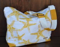 Sea Life tote Bag, upholstery weight designer fabric in stripes and starfish with zipper top Purse, shopper , yellow and grey  by Darby Mack...