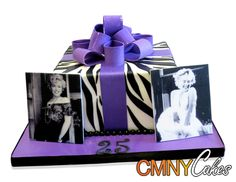 Zebra Print Purple Bow Marilyn Monroe Cake This fun cake was a great combination of a wild zebra pattern and a Marilyn Monroe theme! It was made for a 25th birthday party that hosted 15 people. The cake is a single tier square and stands on a base covered in a bright purple fondant. The client supplied the exact color needed for the purple shade and we were happy to oblige!  http://cmnycakes.com/gallery2 /v/Cakes+For+All+Occasions/Zebra+Print+Purple+Bow+Marilyn+Monroe+Cake.html