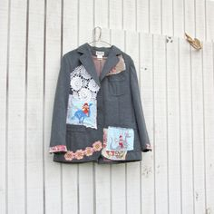upcycled clothing / Charcoal Gray Vintage Jacket / Circus / Blazer  by CreoleSha, $85.00