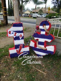 #piñata #tematica #nautica #creacionescristian Sailor Birthday, Sailor Party, Sailor Theme, One Year Birthday, 1st Boy Birthday, First Birthday Parties, First Birthdays, Nautical Birthday Cakes, Nautical Party