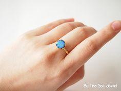 #Swarovski bijou Adjustable #Ring White Opal Sky by BytheSeajewel, $18.00