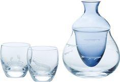 Sake chiller: Cold Sake set SEAFOOD (carafe 220ml, glasss 95ml x 2pcs) to keep Sake cold