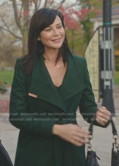 Cassie's green wrap coat on Good Witch Hallmark Good Witch, Allana Davison, The Good Witch Series, Tv Show Casting, Catherine Bell, Green Wrap, Witch Outfit, Wrap Coat, Celebs